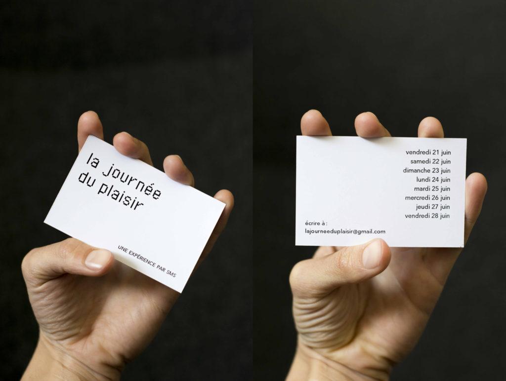 """Camille Bondon, la journée du plaisir, carte de visite, activation lors de """"Tentatives de bonheurs"""", exposition collective, Maif Social Club, inv. Anne-Sophie Breard, 2019"""